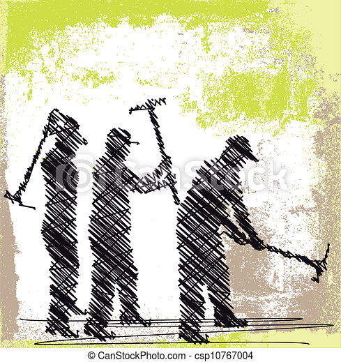 Abstract sketch of craftsman working with a pick. Vector illustration - csp10767004