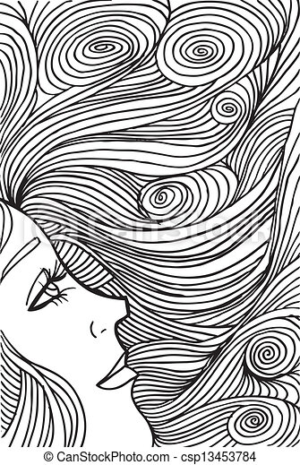 Abstract sketch of woman face. Vector illustration. - csp13453784
