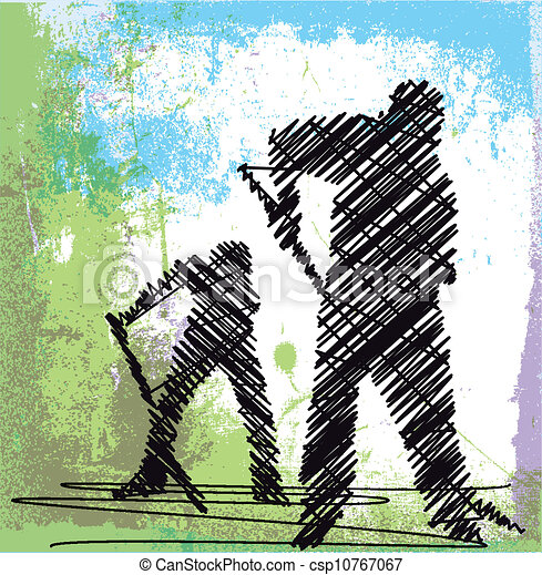 Abstract sketch of Worker digging with a shovel. Vector illustration - csp10767067