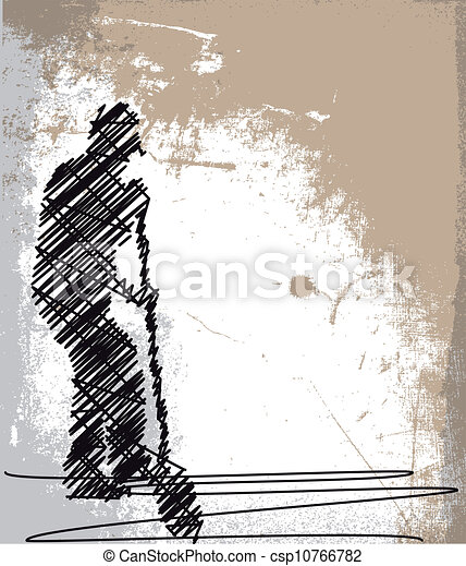 Abstract sketch of Worker digging with a shovel. Vector illustration - csp10766782