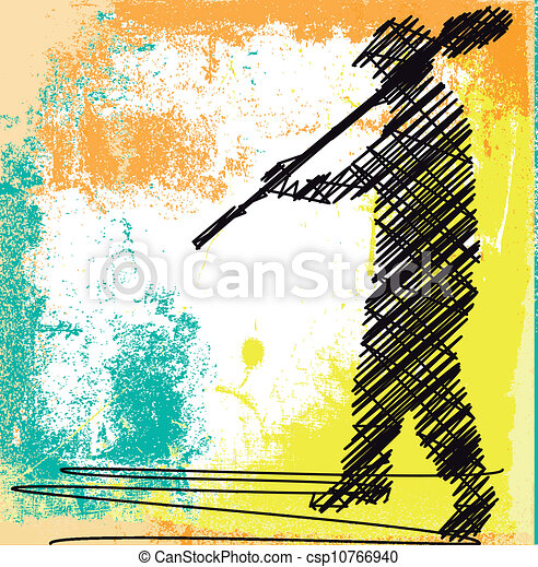 Abstract sketch of Worker digging with a shovel. Vector illustration - csp10766940