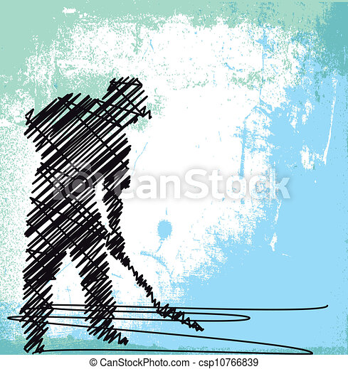 Abstract sketch of Worker digging with a shovel. Vector illustration - csp10766839