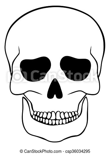 Abstract skull isolated on white - csp36034295