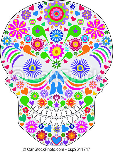 abstract skull isolated on white background. - csp9611747