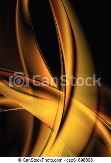 Abstract Smooth Orange Waves On Black Background