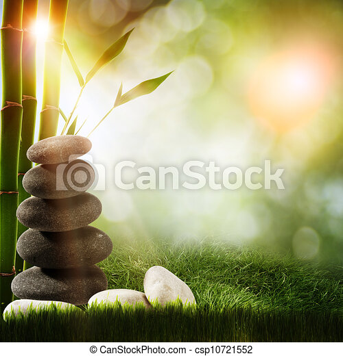 Abstract spa backgrounds with bamboo and pebble - csp10721552
