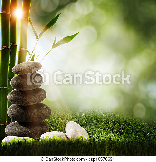 Abstract spa backgrounds with bamboo and pebble - csp10576631