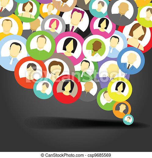 Abstract speech cloud of network avatars - csp9685569
