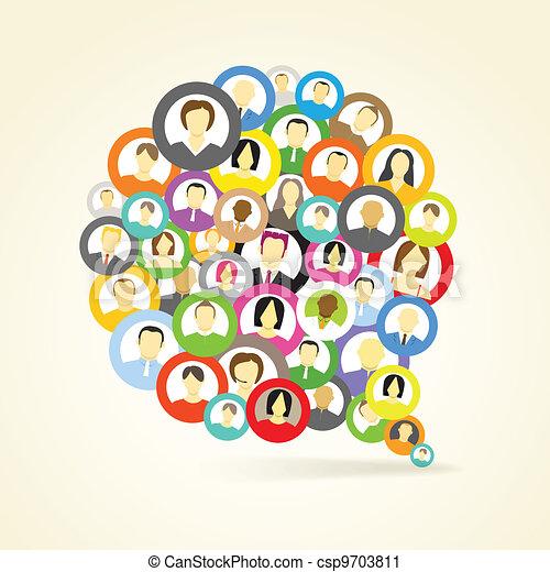 Abstract speech cloud of network avatars - csp9703811