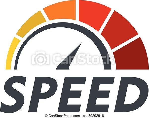 Abstract speedometer logo, flat style