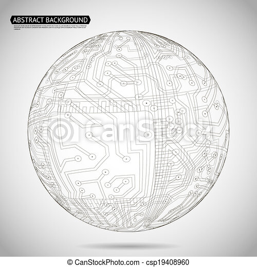 Abstract Sphere Diagram Technology Background Vector Illustration - csp19408960