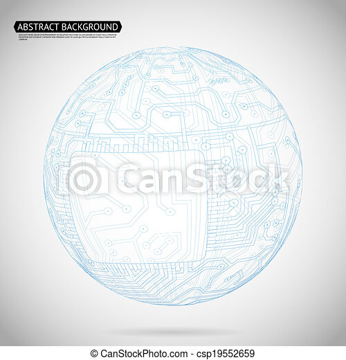 Abstract Sphere Diagram Technology Background Vector Illustration - csp19552659