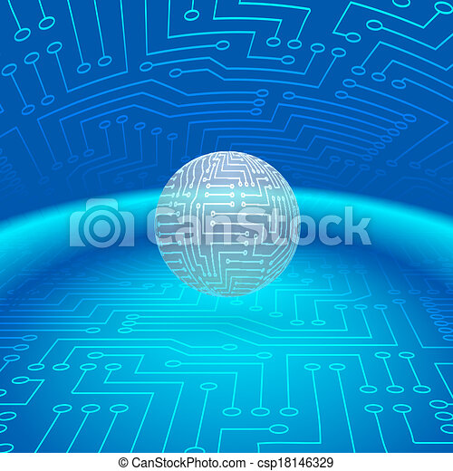 Abstract Sphere of Electronic Circuitry - csp18146329