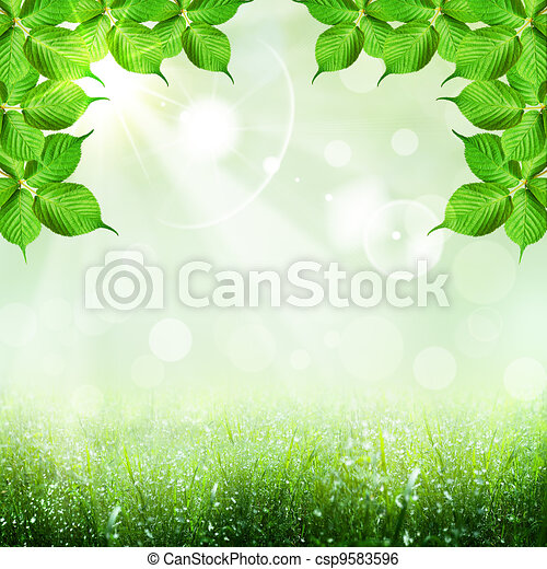 Abstract spring and summer backgrounds with foliage shape - csp9583596