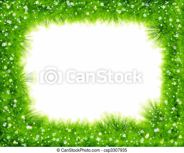 Abstract spring floral border, grass and flowers - csp3307935