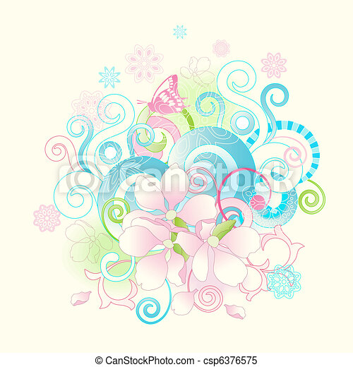 Abstract spring flowers and scrolls - csp6376575
