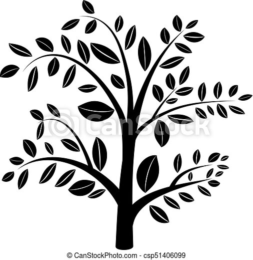 Abstract Spring Tree Silhouette Illustration Icon