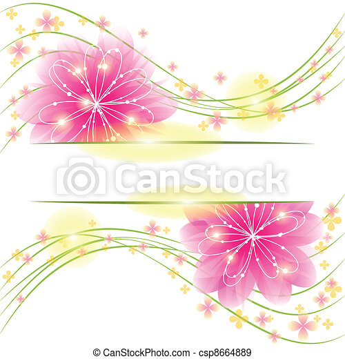 Abstract springtime flower greeting card - csp8664889