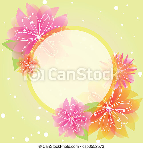 Abstract springtime flower greeting card - csp8552573