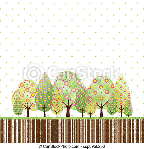 Abstract springtime tree with colorful flower - csp8956250