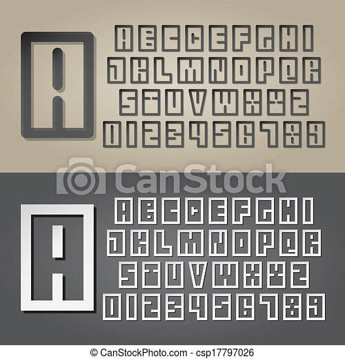 Abstract Square Alphabet and Digit Vector - csp17797026