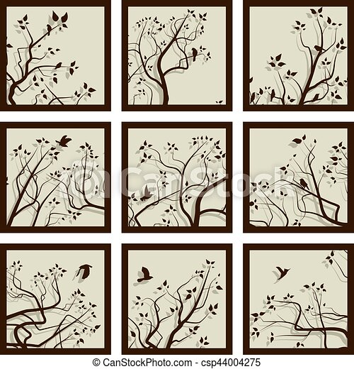 Abstract square icons framed tree branches and flock of birds. Set ...