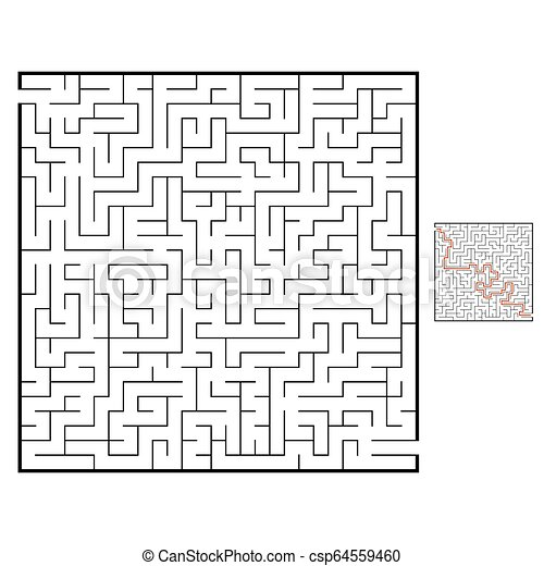 Abstract square maze  Game for kids  Puzzle for children  Labyrinth  conundrum  Black flat vector illustration isolated on white background   With