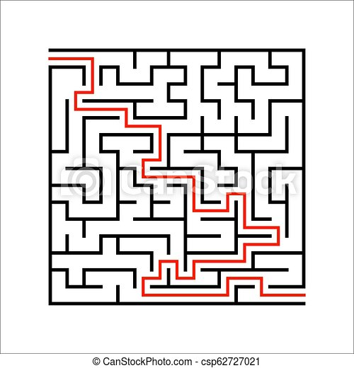 Abstract square maze  Game for kids  Puzzle for children  One entrances,  one exit  Labyrinth conundrum  Simple flat vector illustration isolated on