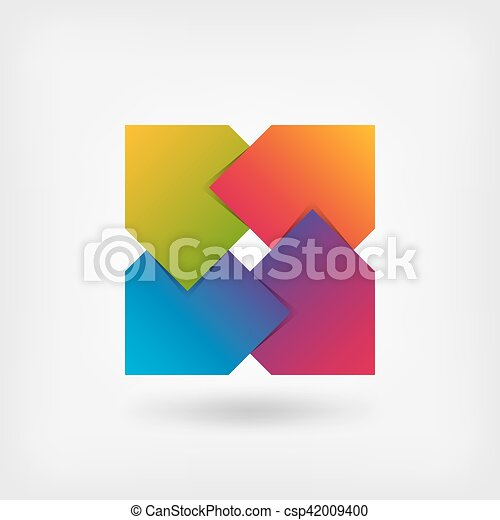 abstract square symbol in rainbow colors - csp42009400