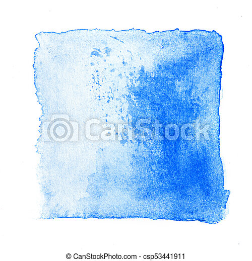 Abstract Square Watercolor Fresh Blue Color Tone Hand Paint Isolated On The White Background For Creative