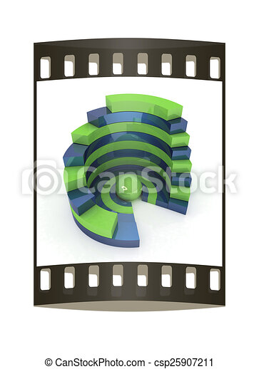 Abstract structure with green bal in the center. The film strip - csp25907211