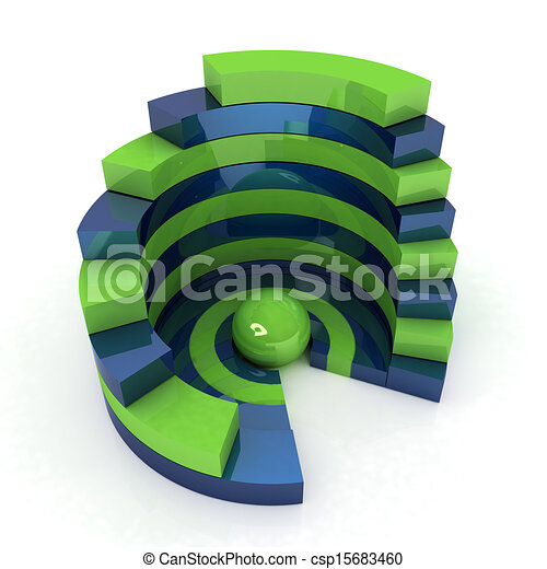 Abstract structure with green bal in the center - csp15683460