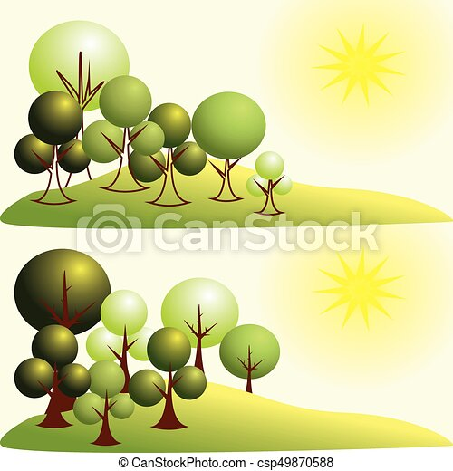 Abstract stylized trees in park - csp49870588