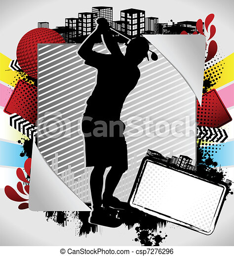 Abstract summer golf poster. Abstract summer frame with ...