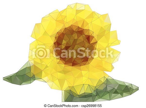 Sunflower Line Drawing : Abstract sunflower drawing with triangles isolated on white clipart