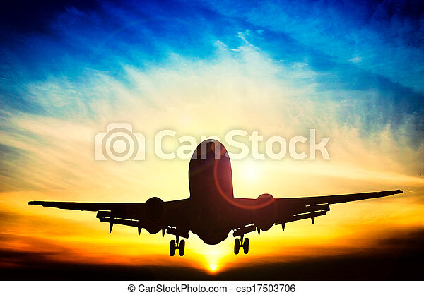 Abstract sunset and airplane - csp17503706