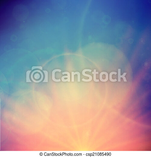 Abstract Sunset on sky with lenses flare. - csp21085490