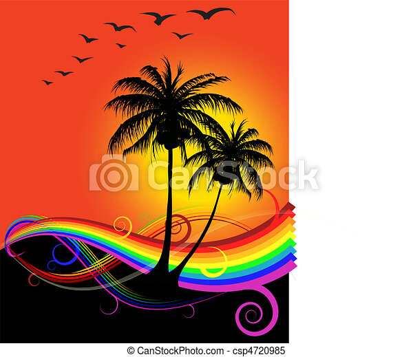 Abstract Sunset On The Beach With Rainbow Vector