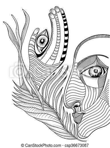 abstract surreal face and hand with mehndi tattoo hand drawing