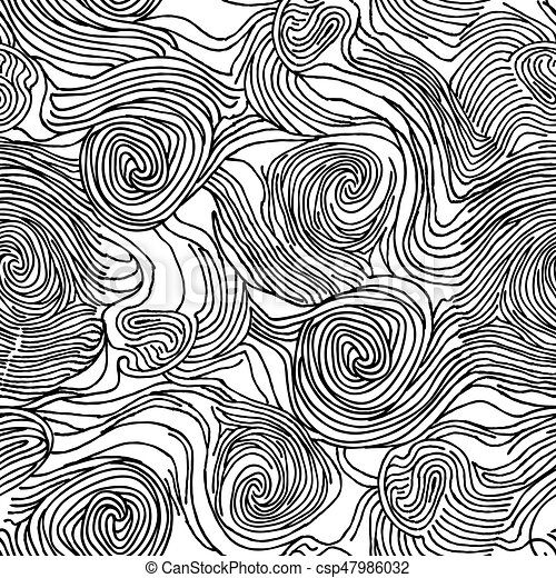 Abstract swirl chaotic line doodle seamless pattern Ocean wave texture  black and white background