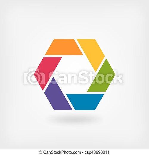 abstract symbol rainbow hexagon - csp43698011