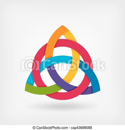 abstract symbol triquetra in rainbow colors - csp43698088