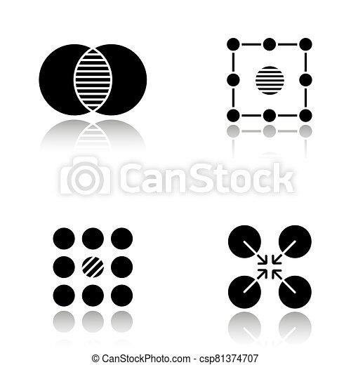 Abstract symbols drop shadow black glyph icons set - csp81374707