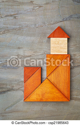 abstract tangram lighthouse - csp21985643