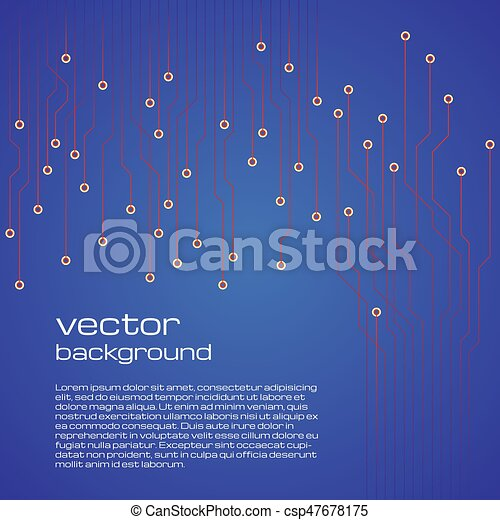 Abstract technological blue background with elements of the microchip. - csp47678175