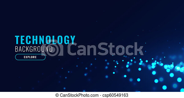 abstract technology background with glowing blue particle dots - csp60549163
