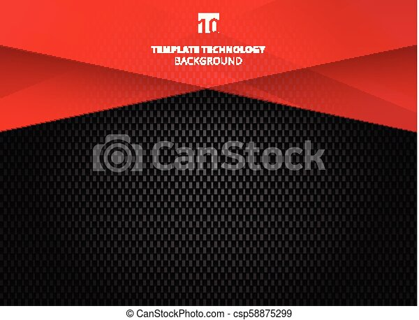 Abstract technology geometric red color shiny motion carbon fiber texture on dark background. - csp58875299