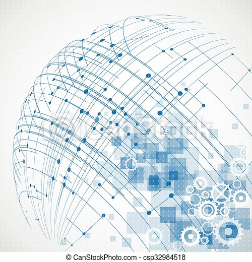 Abstract technology globe background. Vector - csp32984518