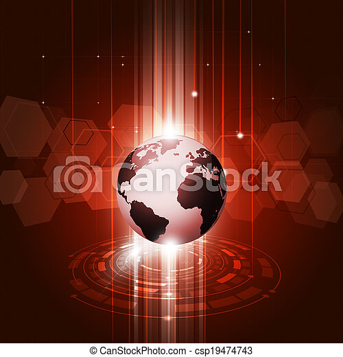 Abstract Technology Red Background - csp19474743