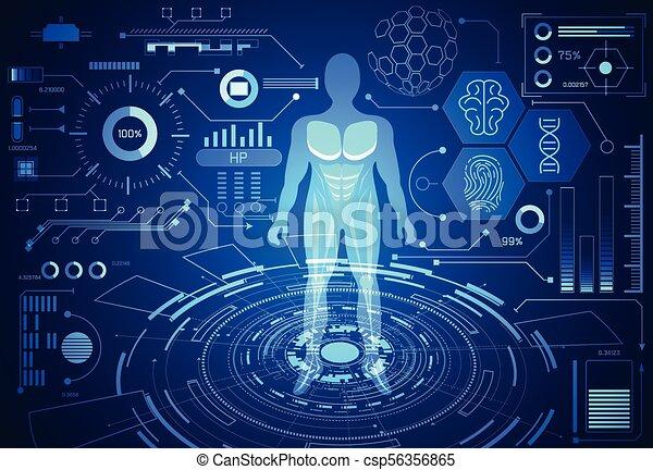 Abstract Technology Science Concept Human Data Health Digital Hud Interface Elements Of Medicine Analysis Fingerprint